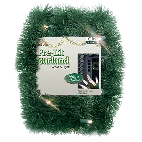 Brite Star 12-Feet Direct Plug in Lighted Pine Garland with 35 Count Clear Mini Lights (Mini Lights 35 Count compare prices)