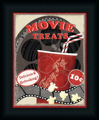 At The Movies Ii By Veronique Charron Theater Media Room Retro Cherry Pop Sign Wall Art Print Framed Décor front-1012599