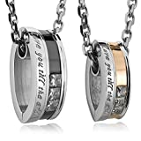 INBLUE Stainless Steel Love You Till the End CZ Silver Gold Black His & Hers set, (2 Pieces) 20 & 23-Inch