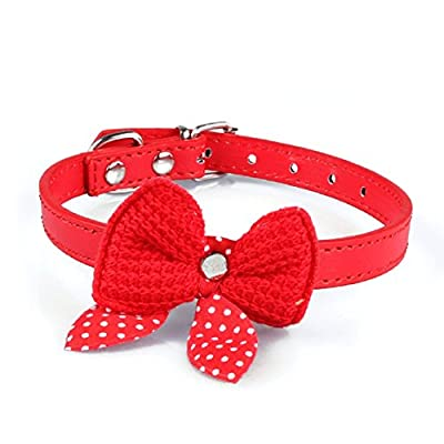 Mokingtop? Hot Cute Knit Bowknot Adjustable PU Leather Dog Puppy Pet Collars Necklace