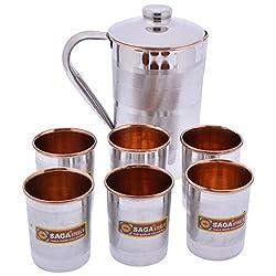 Taluka Copper & Steel Jug Set , 7-Piece - (Jug : 1.5 Litres , Glass : 100 ml each)