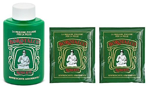 Roberts: Borotalco® Talc Powder - 200 Gr (7.05 Oz) + 2 Bags of Refill 100 Gr (3.5 Oz Each) [ Italian Import ] - 1