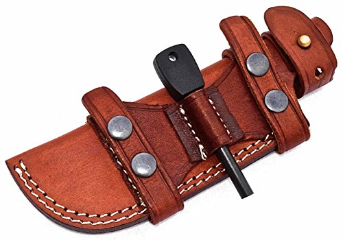 CFK Cutlery Company USA Custom Handmade BROWN Bushcraft TRACKER / Skinner Knife Buffalo Leather RIGHT / LEFT HAND Horizontal Scout