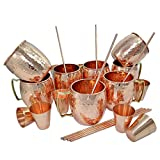 Set of 8, 100% Authentic Copper Mug with FREE Copper Shot Glass And Copper Straw - 16 oz Copper Moscow Mule Mug - Solid Copper Bar, Cocktail & Wine Glasses/Beer Mugs