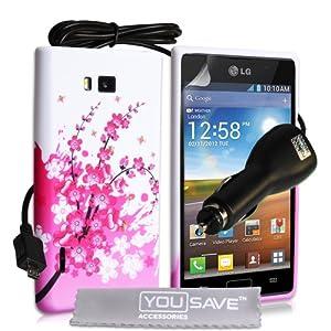 Coque LG Optimus L7 P700 Accessoires Etui Rose / Blanc Silicone Gel Floraux Abeille Housse Avec Chargeur De Voiture Et Ecran Protecteur