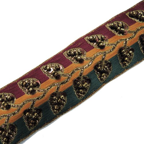 3 Color Copper Sequin Beaded Ribbon Sewing Trim 1 Yard