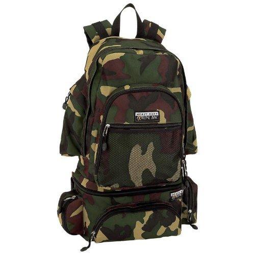 Backpack multiple zippered adjustable detachable