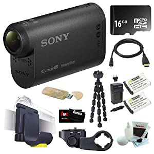 Sony HDR-AS10 HD Action Video Camcorder Camera + 16GB Micro SDHC + 2 Wasabi NP-BX1 Batteries and Charger + Sony VCTHM1 Handlebar Mount + Sony VCTGM1 Headband and Clip-on Kit + Micro HDMI Cable + Accessory Kit