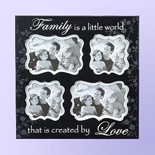 Unison Gifts BWA-224 13 x 13 In. Word Inspirational 4 Opening Collage Black Frame - Family