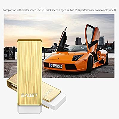 Eaget F50S USB 3.0 Extremely High Speed Capless Flash Drive,Water Resistant,Shock Resistant,128GB,Gold