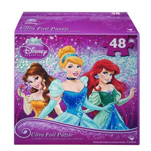 Princess 48 Piece Ultra Foil Puzzle - Cinderella, Belle, Ariel - 1