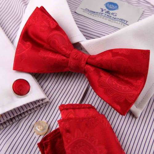 Red mens bow tie cheap Red Patterned Silk Pre-tied Bowtie, Cufflinks,Handkerchiefs Present Box Set BY Epoint EBC1049