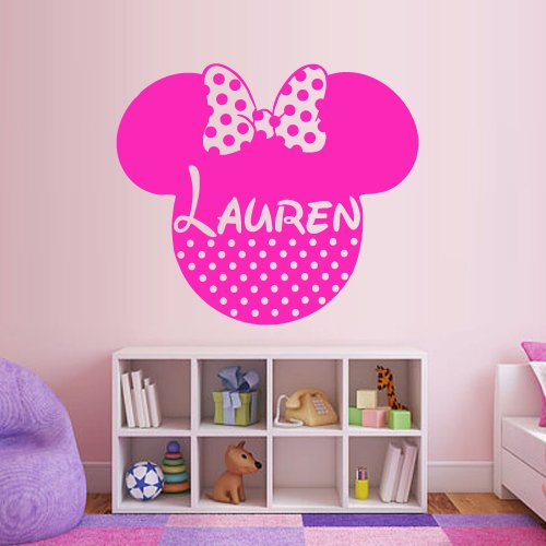 Wall Decal Vinyl Sticker Decals Art Decor Disney Custom Baby Name Head Mice Ears Mickey Minnie Mouse Gift Kid Children Nursery (M1317) front-855215
