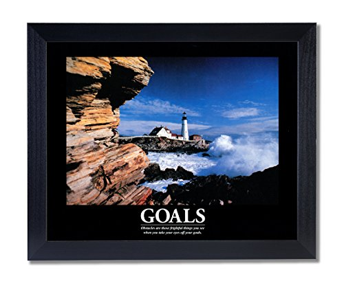 GOALS Motivational Ocean Lighthouse Picture Black Framed Art Print (Framed Motivational Pictures compare prices)
