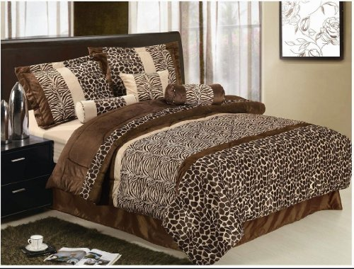 7 Pcs Animal Zebra Giraffe Soft Micro Fur Chocolate Brown Beige Comforter Set Queen Size front-1010638
