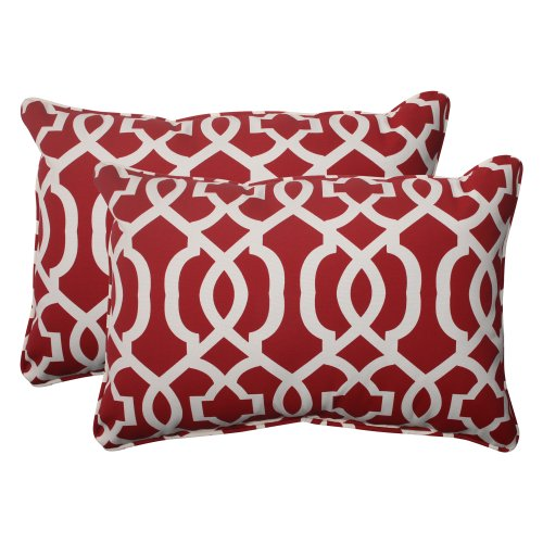 Throw Pillow Deals : Pillow Perfect IndoorOutdoor New Geo Corded Oversized Rectangular Throw Pillow Red Set of 2 ...