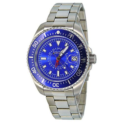 Nautec No Limit Deep Sea DS QZ-GMT/STSTBLBL - Reloj para hombres, correa de acero inoxidable color plateado