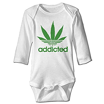 Addicted Cannabis Weed Leaf Baby Onesie Infant Long Sleeve Screen-Print Quality Bodysuits