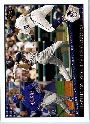 2009 Topps Baseball # 176 Josh Hamilton - Justin Morneau - Miguel Cabrera Texas Rangers - Minnesota Twins - Detroit Tigers - MLB Trading Card