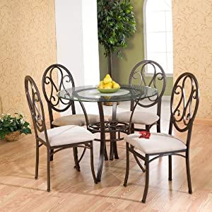 5 Pcs Casual Dining Table And Chairs Set Dark Brown Metal Tube Fr
