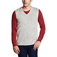 Peter England Men's Wool Sweater (8907306795178_PSW100321_X-Large_Light Grey and Grey)