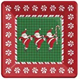 Santa Swing 10-1/4-inch Christmas Square Paper Plates 8 Per Pack