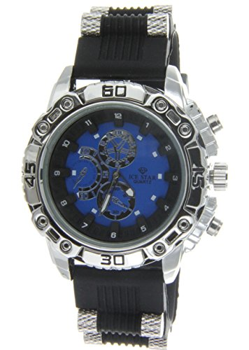 Mens Big Heavy Chrome Tone Watch Designer Round Hip Hop Ice Star Blue Dial