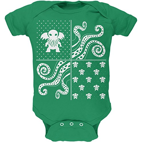 Cthulhu Four Dimensions Ugly Christmas Sweater Green Soft Infant Bodysuit - 9-12 Months