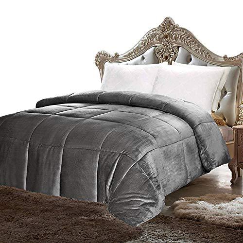 Utopia Bedding Comforter Sherpa Flannel - All Season - Machine Washable - Luxury Goose Down Alternative - Reversible - Ultra Soft - Box Stitched (Queen)