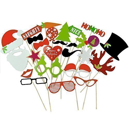 Christmas Photo Booth Props Attached to the Sticks, Christmas Gifts, Photo Masks by US-Sales