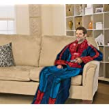Marvel Spiderman Comfy Throw - Comics Fleece Blanket Sleeves