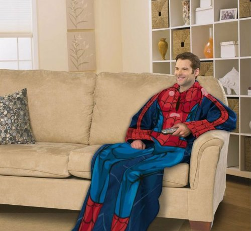 Marvel, Spiderman, Blue on Blue 48-Inch-by-71-Inch Adult Comfy Throw with Sleeves by The Northwest Company