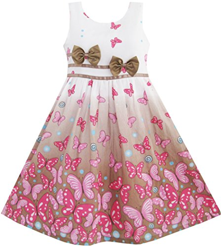 Sunny Fashion Girls Dress Brown Butterfly Double Bow Tie Party Sundress 7-8 Brown Dress Bowties