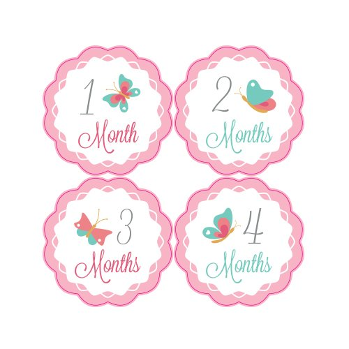 Pinkie Penguin Baby Monthly Stickers - Butterflies Flying - Milestone Onesie Stickers - 1-12 Months - Baby Girl