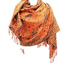 Silver Fever® Jacquard Paisley Pashmina Shawl Scarf Stole Double Sided (Orange/Rust)