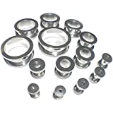 Plain Surgical Stainless Steel Screw-Fix Flesh Tunnels Ear Plugs 316L Ear Expanders Choose Your Size!