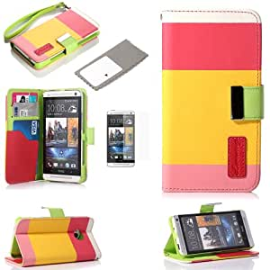 Masione™Tri-Colors(RED+ PINK+YELLOW Color)High quality PU Leather Wallet folio flip Case Cover with Credit Card Holder for HTC ONE M7 with Screen Protector included