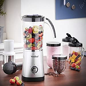 VonShef 4 in 1 Multifunctional Silver 1 Litre Smoothie Maker, Free 2 Year Warranty - 1.5 Litre Blender, Juicer, Mugs & Grinder by VonShef