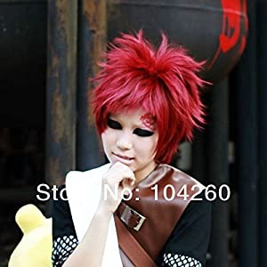 Smile Gaara Short Straight Wine Red Anime Party Cosplay Full Hair Wig