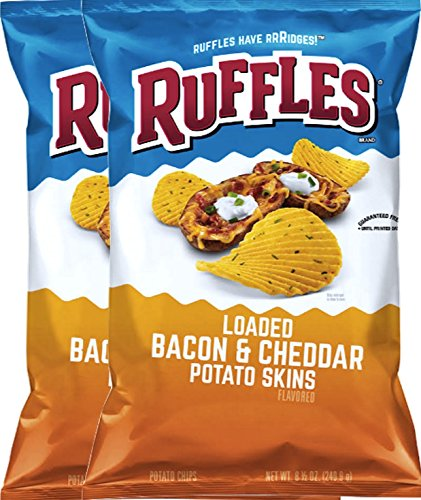 Ruffles Loaded Bacon & Cheddar Potato Skins Snack Care Package for College, Military, Sports 8.5 Oz Bag (2) (Ruffles Bbq Chips compare prices)