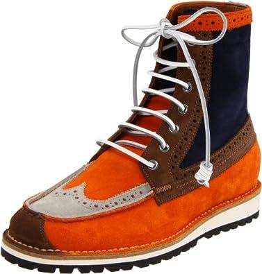 DSQUARED2 Men's Water Velour Lace-Up Boot,Arancio,42 EU/10 M US