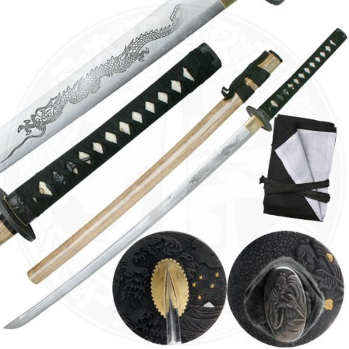 HAND SHARPENED CARBON STEEL KATANA with DRAGOM HORIMONO ENGRAVING the unknown bridesmaid