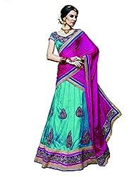 DesiButik's Wedding Wear Ravishing Dark Firozi Net Lehenga