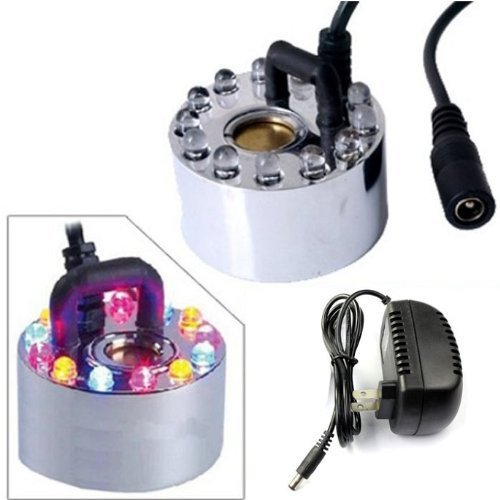 Ushoppingcart Hot Sale!!! New Arrival Top 12 LED Colorful Light Ultrasonic Mist Maker Fogger Water Fountain Pond+Power Adapter,No heat or chemicals used , Long service life ,Cool!