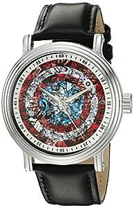 Marvel Captain America Men's W002545 Captain America Analog Display Analog Quartz Black Watch