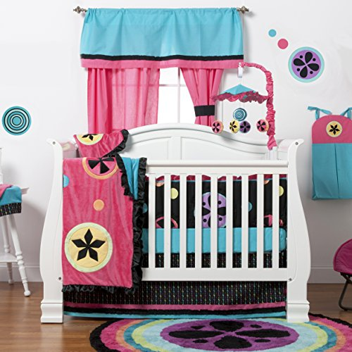 One Grace Place Magical Michayla Infant Crib Bedding Set, Black/Pink/Turquoise