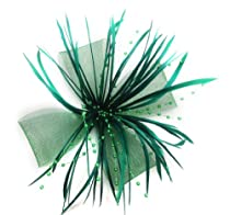 Chrysanthemum Style Flower Fascinator With Feather on Clip and Brooch (Deep Green)