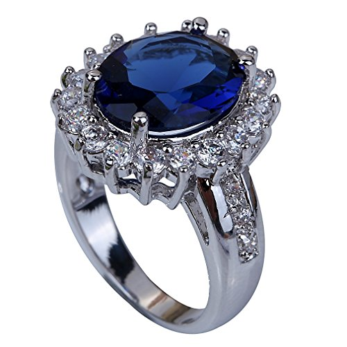 YAZILIND Jewelry Stunning Unique Design Silver Plated Sapphire Women Ring Lady's Gift Size7 (Yazilind Rings compare prices)