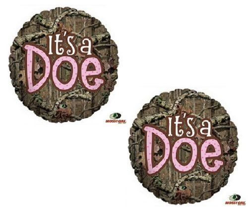 LoonBalloon MOSSY OAK It's a Doe Pink Girl Baby Shower Camouflage Hunting (2) Mylar Balloons (Pink Camo Baby Shower compare prices)