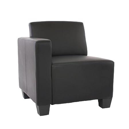 Modular Seitenteil links, Sessel mit Armlehne Lyon, Kunstleder ~ schwarz